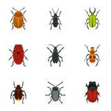 Bug icons set, flat style. Bug icons set. Flat illustration of 9 bug vector icons for web Stock Photo