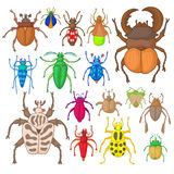 Bug icons set. In hand drawn style  on white background Stock Images