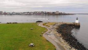 Bug Island Lighthouse Nautical Marine Beacon Portland Maine stock footage