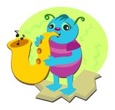 Bug Playing a Saxophone. Here is a musical Bug who loves to play the saxophone Royalty Free Stock Photos