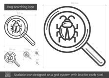Bug searching line icon. Bug searching vector line icon isolated on white background. Bug searching line icon for infographic, website or app. Scalable icon Stock Images