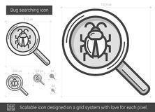 Bug searching line icon. Bug searching vector line icon isolated on white background. Bug searching line icon for infographic, website or app. Scalable icon Royalty Free Stock Photo
