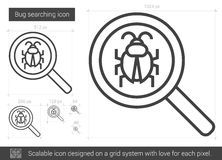Bug searching line icon. Bug searching vector line icon  on white background. Bug searching line icon for infographic, website or app. Scalable icon designed on Royalty Free Stock Photo