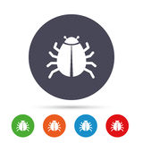 Bug sign icon. Virus symbol. Software bug error. Disinfection. Round colourful buttons with flat icons. Vector Royalty Free Stock Image