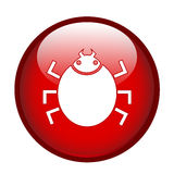 Bug sign on red button Royalty Free Stock Photography
