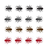 Bug Silhouette Colors. Isolated bug or ants in various colors Stock Image