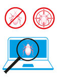 Bug in software code design concepts Royalty Free Stock Photos