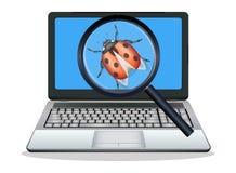 Bug trovato computer portatile Fotografie Stock