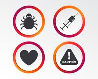 Bug and vaccine signs. Heart, spray can icons. Bug and vaccine syringe injection icons. Heart and caution with exclamation sign symbols. Infographic design Stock Image