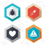 Bug and vaccine signs. Heart, spray can icons Stock Photo