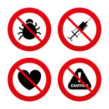 Bug and vaccine signs. Heart, spray can icons Royalty Free Stock Images