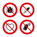 Bug and vaccine signs. Heart, spray can icons. No, Ban or Stop signs. Bug and vaccine syringe injection icons. Heart and spray can sign symbols. Prohibition Royalty Free Stock Image
