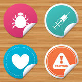 Bug and vaccine signs. Heart, spray can icons. Royalty Free Stock Photography