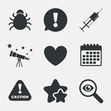 Bug and vaccine signs. Heart, spray can icons. Bug and vaccine syringe injection icons. Heart and caution with exclamation sign symbols. Attention, investigate Stock Photos