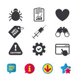 Bug and vaccine signs. Heart, spray can icons. Bug and vaccine syringe injection icons. Heart and caution with exclamation sign symbols. Browser window, Report Royalty Free Stock Images