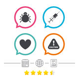 Bug and vaccine signs. Heart, spray can icons. Bug and vaccine syringe injection icons. Heart and caution with exclamation sign symbols. Calendar, internet Royalty Free Stock Photos