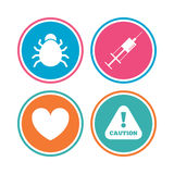 Bug and vaccine signs. Heart, spray can icons. Bug and vaccine syringe injection icons. Heart and caution with exclamation sign symbols. Colored circle buttons Royalty Free Stock Image