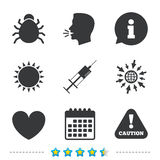 Bug and vaccine signs. Heart, spray can icons. Stock Photos