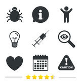 Bug and vaccine signs. Heart, spray can icons. Bug and vaccine syringe injection icons. Heart and caution with exclamation sign symbols. Information, light bulb Royalty Free Stock Photo