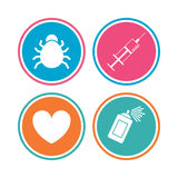 Bug and vaccine signs. Heart, spray can icons. Stock Images