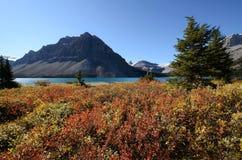 Buga sjön i höst, kanadensiska steniga berg, Kanada Arkivbild