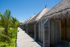 Bugalos alla località di soggiorno attuale alle Maldive Fotografia Stock
