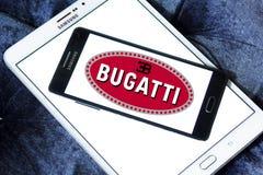 Bugatti car logo. Logo of bugatti car brand on samsung mobile phone a5 Stock Image