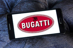 Bugatti car logo. Logo of bugatti car brand on samsung mobile phone a5 Royalty Free Stock Image