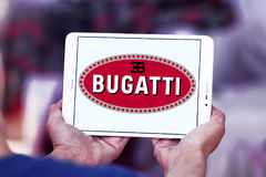 Bugatti car logo. Logo of Bugatti car brand on samsung tablet Stock Photos