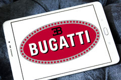 Bugatti car logo. Logo of Bugatti car brand on samsung tablet Royalty Free Stock Photo