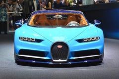 Bugatti Chiron. Blue Bugatti Chiron at 86th International Auto Show, Geneva 2016 royalty free stock photography