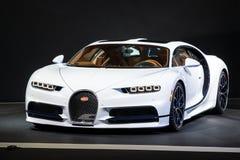 Bugatti Chiron sports car. PARIS - OCT 2, 2018: Bugatti Chiron 8.0 W16 DSG Sequential sports car showcased at the Paris Motor Show stock image