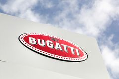 Bugatti logo on a panel. Geneva, Switzerland - October 1, 2017: Bugatti logo on a panel. Automobiles Bugatti is a French car manufacturer of high-performance Stock Photos
