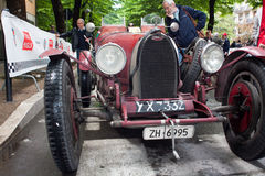 Bugatti T 37 at Mille Miglia 2013. Mille Miglia 2013, Sansepolcro. An old racing car Bugatti T 37 of the 1928  at a stop in rally Mille Miglia 2013, re-enactment Stock Image