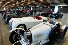 Bugatti Type 37, Jaguar XK and vintage cars Royalty Free Stock Photo
