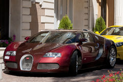 Bugatti Veyron 16.4 at Cannes, French Riviera. With its 16-cylinder four-wheel drive, the Bugatti Veyron 16.4*) may well be the most sophisticated production Stock Photography