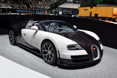Bugatti Veyron. A black and white Bugatti Veyron pictured at the Geneva Motor show in Switzerland, 2014 Stock Photos