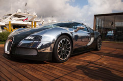 Bugatti Veyron green and aluminum in italy Royalty Free Stock Photo
