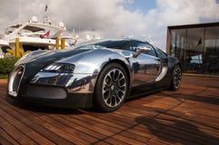 Bugatti Veyron green and aluminum in italy Royalty Free Stock Photo