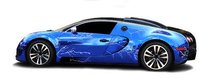 Bugatti Veyron sports car. Blue Bugatti Veyron sports car.  Yours for just over 2 million US dollars Stock Photos