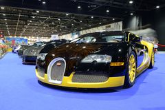 The Bugatti Veyron sportscar is on Boulevard of Dreams on Dubai Motor Show 2017 Stock Photography