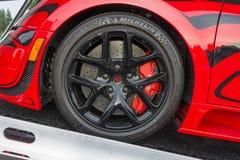 Bugatti Veyron wheels on display Royalty Free Stock Photos