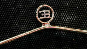 Bugatti Vintage Logo brand. Exposed at Retromobile 2017 exposition in Paris in France Stock Photos