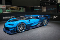 Bugatti Vision Gran Turismo - world premiere. Frankfurt international motor show (IAA) 2015. Bugatti Vision Gran Turismo - world premiere Royalty Free Stock Photo