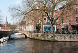 Bruges architecture - old canals with bridge. The canal with old buildings in Bruges Royalty Free Stock Images