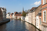 Bruges architecture - old canals. The canal with old buildings in Bruges Stock Photography