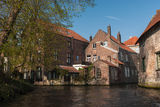 Bruges architecture - old canals. The canal with old buildings in Bruges Royalty Free Stock Images