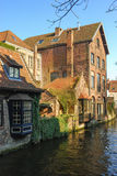 Bruges architecture - old canals. The canal with old buildings in Bruges Royalty Free Stock Photography