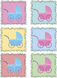 Buggies in colored frames Stock Images