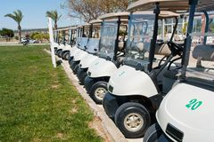 Buggies parked by the clubhouse in a golf course on the Costa Blanca in Spain stock photos